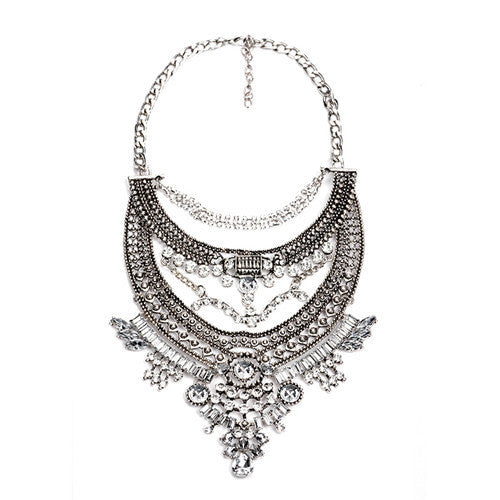 1Collar ZA Necklaces & Pendants Vintage Crystal Maxi Choker Statement Silver Collier Femme Boho Big Fashion Women Jewellery