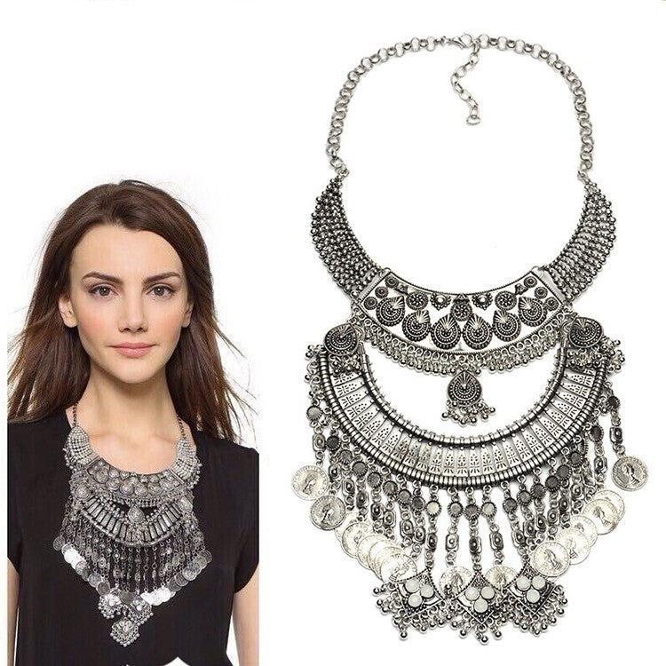 Collar ZA Necklaces & Pendants Vintage Crystal Maxi Choker Statement Silver Collier Femme Boho Big Fashion Women Jewellery