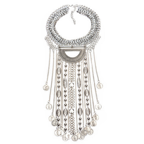 66cb5b4f80 Collar ZA Necklaces & Pendants Vintage Crystal Maxi Choker Statement Silver  Collier Femme Boho Big Fashion