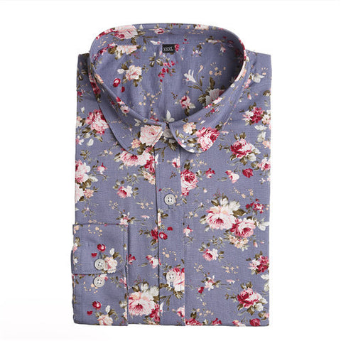 Dioufond New Floral Long Sleeve Vintage Blouse Cherry Turn Down Collar Shirt Blusas Feminino Ladies Blouses Womens  Tops Fashion - Dollar Bargains - 16