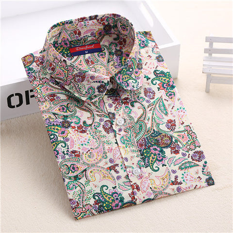 Dioufond New Floral Long Sleeve Vintage Blouse Cherry Turn Down Collar Shirt Blusas Feminino Ladies Blouses Womens  Tops Fashion - Dollar Bargains - 9