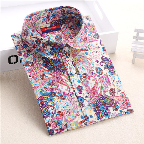 Dioufond New Floral Long Sleeve Vintage Blouse Cherry Turn Down Collar Shirt Blusas Feminino Ladies Blouses Womens  Tops Fashion - Dollar Bargains - 7