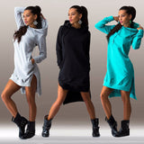 Winter Dress Cotton O-neck Long Sleeve Fashion Casual Style Irregular Solid Hooded Women's Dress Free hipping-Dollar Bargains Online Shopping Australia
