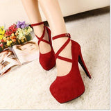 New High-heeled Shoes Woman Pumps Wedding Shoes Platform Fashion Women Shoes Red High Heels 11cm Suede-Dollar Bargains Online Shopping Australia
