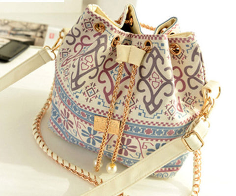 Bohemia Canvas Drawstring Lady Bucket Bag 2016 New Chains Shoulder Handbags Women's Vintage Messenger Bags Bolsa Feminina Bolsos - Dollar Bargains - 1
