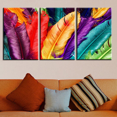 3 Piece Home Decoration Modern Canvas Wall Art Colored Feathers Oil Painting Picture Print On Canvas For Bedroom No Frame-Dollar Bargains Online Shopping Australia