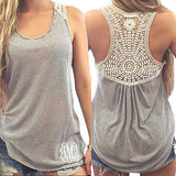 Women's Clothing Tops & Tees Tanks & Camis Fashion Women Summer Vest Top Sleeveless Casual Hollow Out Lace Tank Tops - Dollar Bargains - 1
