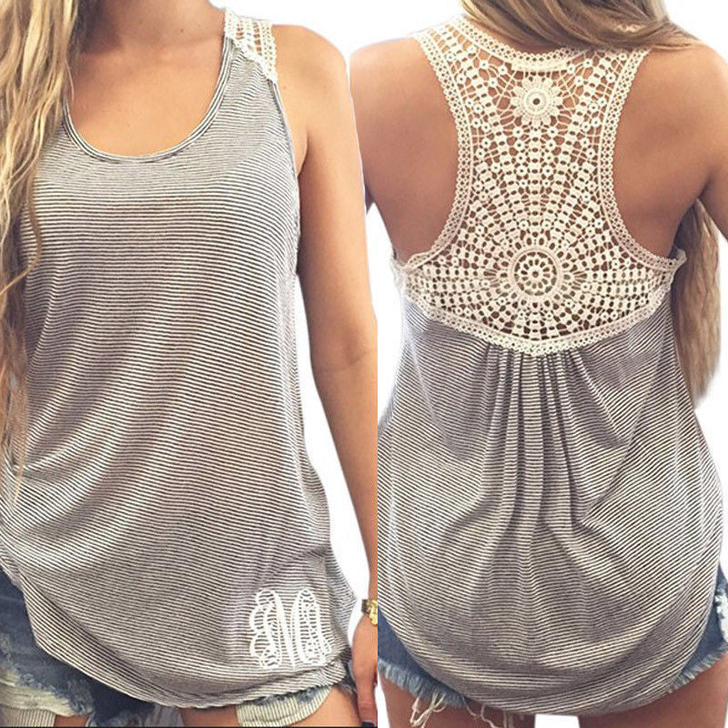 Gray / SWomen's Clothing Tops & Tees Tanks Fashion Women Summer Vest Top Sleeveless Casual Hollow Out Lace Tank Tops