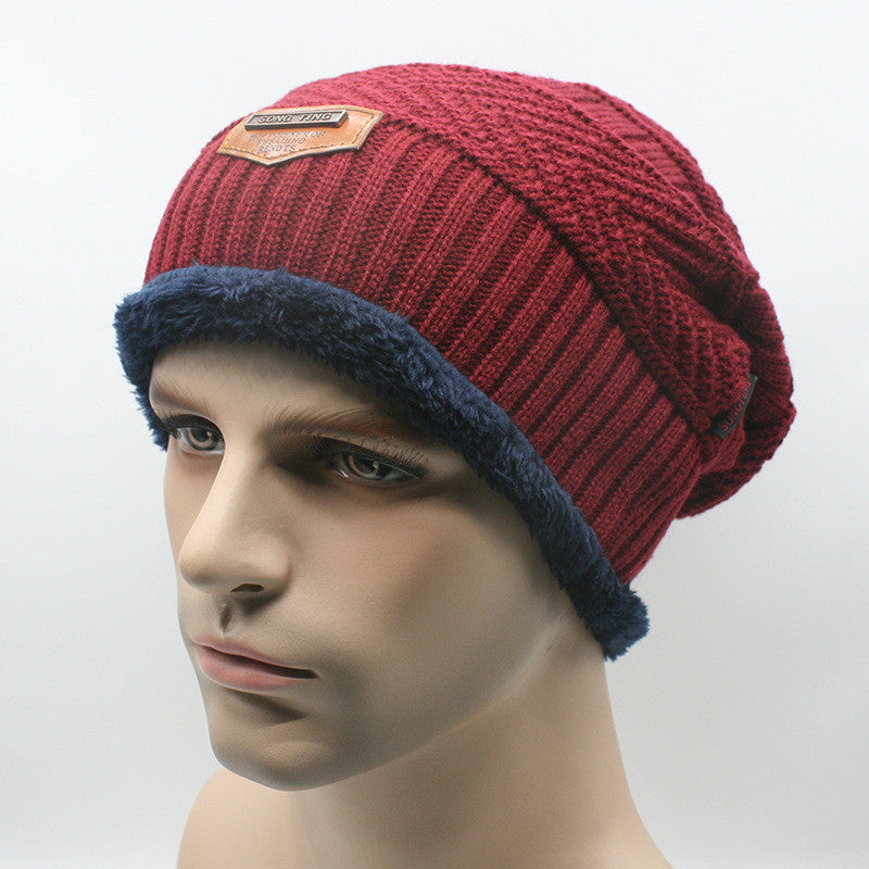 wine redBrand Beanies Knit Men's Winter Hat Caps Skullies Bonnet Winter Hats For Men Women Beanie Fur Warm Baggy Wool Knitted Hat