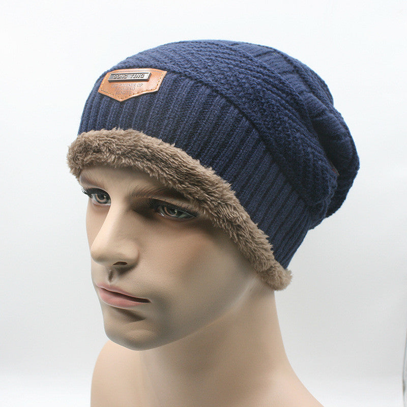 navy blueBrand Beanies Knit Men's Winter Hat Caps Skullies Bonnet Winter Hats For Men Women Beanie Fur Warm Baggy Wool Knitted Hat