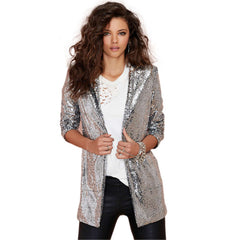 Autumn Fashion Women Silver Sequined Coats Turn-down Collar Long Sleeve Outwears Cardigan Jackets-Dollar Bargains Online Shopping Australia