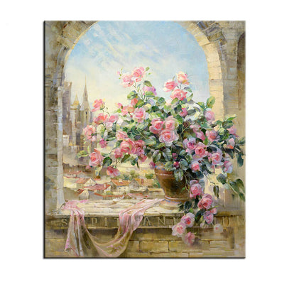 Frameless Window Flowers Scene DIY Painting By Numbers Kits paintings for living room wall Coloring Painting By Numbers-Dollar Bargains Online Shopping Australia