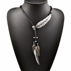 New Bohemian Style Black Rope Chain Leaf Feather Pattern Pendant Necklace For Women Fine Jewelry Collares Statement Necklace-Dollar Bargains Online Shopping Australia