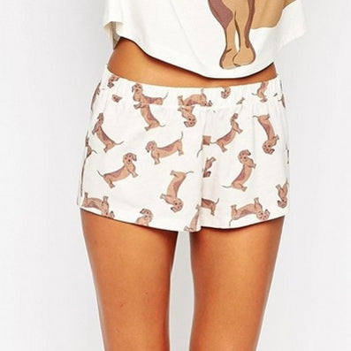 Bigger Size Made Cute Shorts Women Dachshund Dog Print Elastic Waist Cotton Blend Knitted Stretchy Shorts S-XL B6701-Dollar Bargains Online Shopping Australia