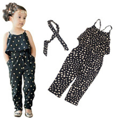 girls Rompers clothes kids Girls harness heart-shaped piece clothing set kids summer Jumpsuit clothes-Dollar Bargains Online Shopping Australia