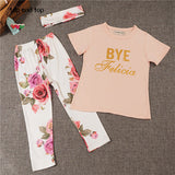 2016 baby girl clothes Flower letter Pattern short sleeve t shirt + pants+scarf 3pcs suit newborn baby girl clothing set - Dollar Bargains - 2
