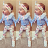 2016 baby girl clothes Flower letter Pattern short sleeve t shirt + pants+scarf 3pcs suit newborn baby girl clothing set - Dollar Bargains - 3