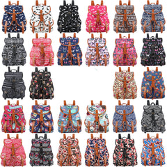 Exclusive Handmade Bohemian Mochila Vintage Backpack Drawstring Printing Canvas Bagpack Sac a Dos Femme Rucksack Female-Dollar Bargains Online Shopping Australia