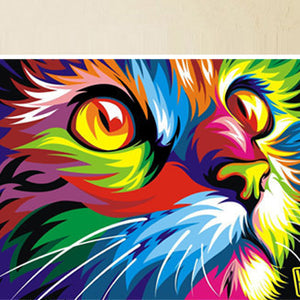 Original Colorful Paint cat Head Graphic pictures Art print on the canvas wall decor Home wall art picture-Dollar Bargains Online Shopping Australia