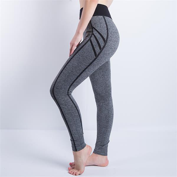 909 Gray / LWomen Sexy Cropped Leggings High Waist Elastic Wicking Force Exercise Female Elastic Stretchy Leggings Slim Trousers 34 C