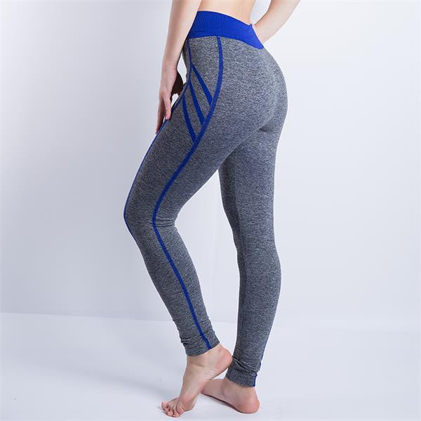909 Blue / SWomen Sexy Cropped Leggings High Waist Elastic Wicking Force Exercise Female Elastic Stretchy Leggings Slim Trousers 34 C