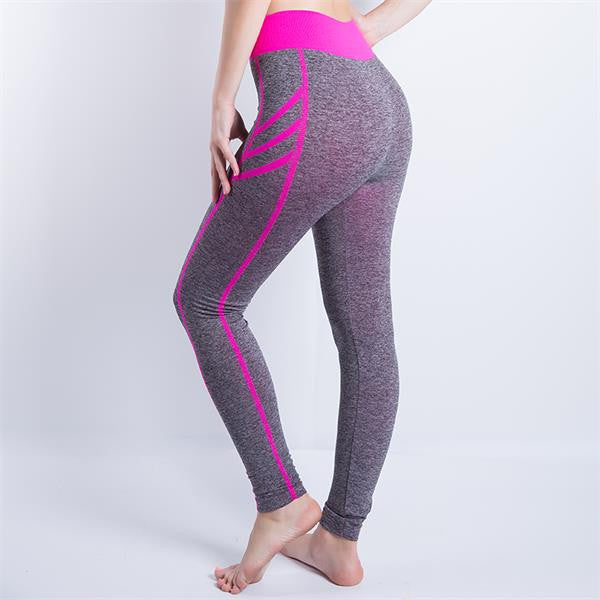 909 Pink / SWomen Sexy Cropped Leggings High Waist Elastic Wicking Force Exercise Female Elastic Stretchy Leggings Slim Trousers 34 C