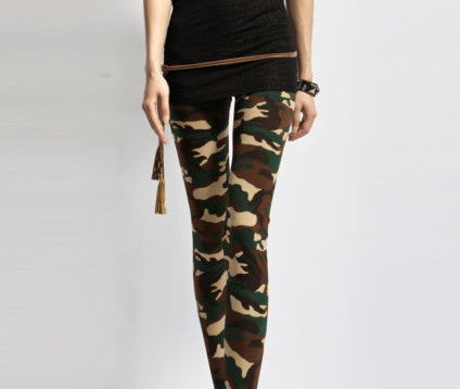 Women's Sexy Army Green Camouflage Printed Elastic Slim Pants Leggings Trousers-Dollar Bargains Online Shopping Australia