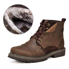 Winter men boots warm genuine leather boots with fur waterproof motorcycle boots plus size-Dollar Bargains Online Shopping Australia