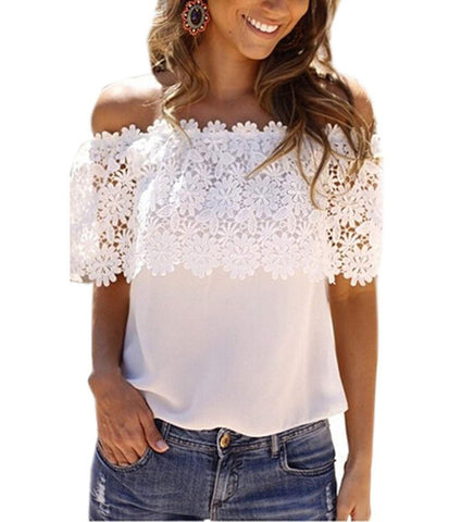 Plus Size S-XXL Blusas 2016 Summer Style Women Sexy Tops Casual Off Shoulder Blouse Chiffon Lace Floral Blouse Solid Shirts - Dollar Bargains - 1