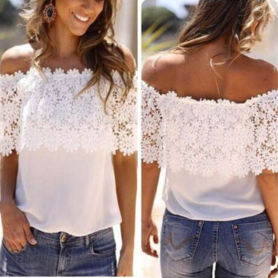 Plus Size S-XXL Blusas 2016 Summer Style Women Sexy Tops Casual Off Shoulder Blouse Chiffon Lace Floral Blouse Solid Shirts - Dollar Bargains - 2