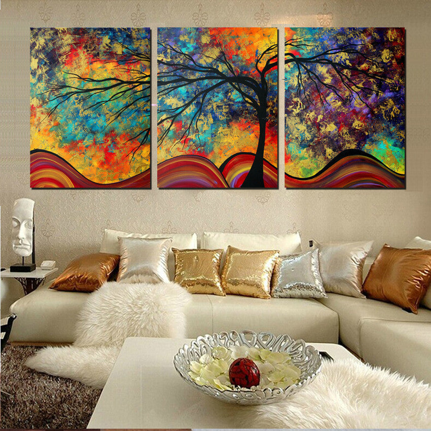 large wall art home decor abstract tree painting colorful landscape pa dollar bargains. Black Bedroom Furniture Sets. Home Design Ideas