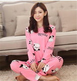 19 Colors Women Pajamas Suits Spring Autumn Cartoon Female Long-sleeve Pajama Pants Milk Silk Pajamas Suits tracksuit-Dollar Bargains Online Shopping Australia