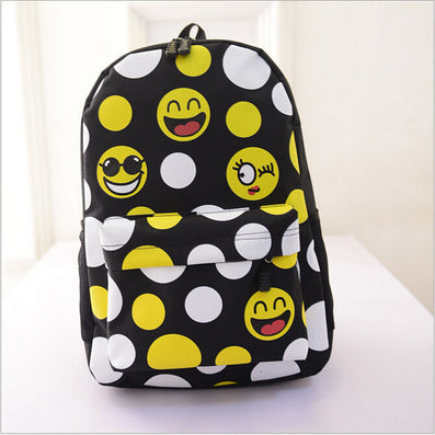 Women Emoji Printing School Bags Children Canvas Backpacks For Teenager Girls Casual Laptop Backpack Mochila Feminina-Dollar Bargains Online Shopping Australia