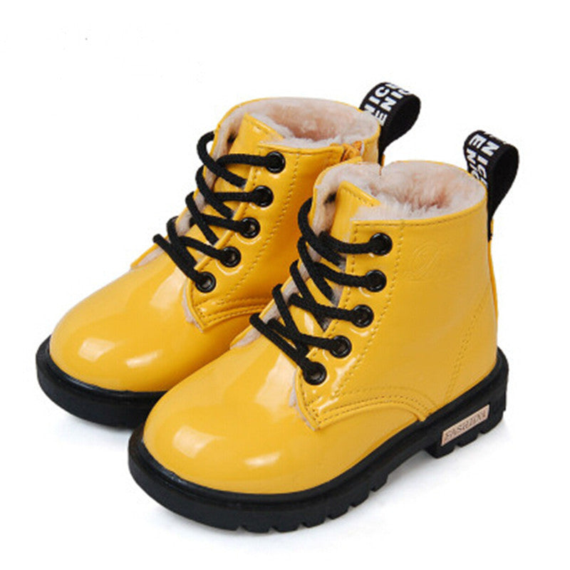 Photo color / 1New Winter Children Shoes PU Leather Waterproof Martin Boots Kids Snow Boots Brand Girls Boys Rubber Boots Fashion Sneakers