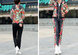 Winter Jacket Women Casual Flower Printed Hooded Warm Thickening Parka (Coat+Pants Sets ) WAT270-Dollar Bargains Online Shopping Australia