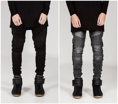 Mens Skinny jeans men Runway Distressed slim elastic jeans denim Biker jeans hiphop pants Washed black jeans for men blue-Dollar Bargains Online Shopping Australia