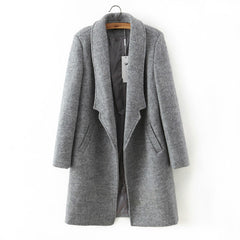 women winter autumn jacket long women coat slim suit collar long style soild woolen coat female jacket-Dollar Bargains Online Shopping Australia