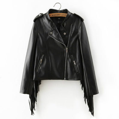 2016 autumn winter new fringed faux PU leather tassels sleeve back zippers women Motorcycle Jacket coat black - Dollar Bargains - 2