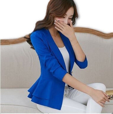 2016 Fashion Hot  New women blazers and jackets long-sleeve slim blazer ruffle short blazer design candy color Outerwear & Coats - Dollar Bargains - 1