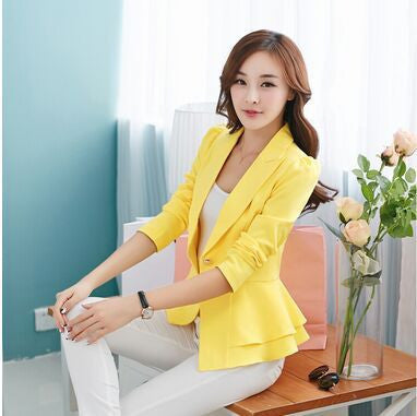 2016 Fashion Hot  New women blazers and jackets long-sleeve slim blazer ruffle short blazer design candy color Outerwear & Coats - Dollar Bargains - 6