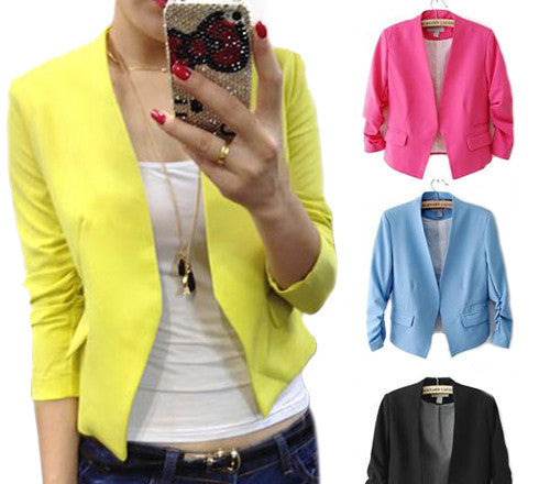 2013 Fashion Women's Korea Style Candy Color Solid Slim Suit Blazer Coat Jacket Outcoat Outerwear  0K5X - Dollar Bargains