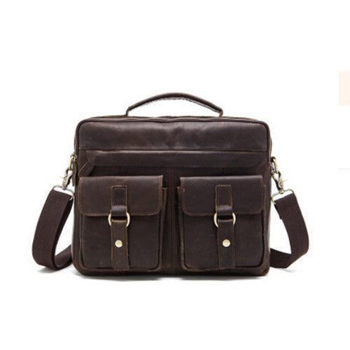 9393423b8715 Genuine Leather Men Bag Crazy Horse Leather Men s Handbags Casual Business  Laptop Shoulder Bags Briefcase Messenger