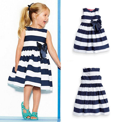 Baby Kid Girls Sleeveless One Piece Dress Blue Striped Bowknot Tutu Dresses Summer-Dollar Bargains Online Shopping Australia