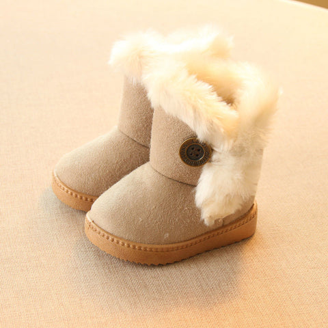 2016 Winter Children Boots Thick Warm Shoes Cotton-Padded Suede Buckle Boys Girls Boots Boys Snow Boots Kids Shoes EU 21-35 - Dollar Bargains - 1