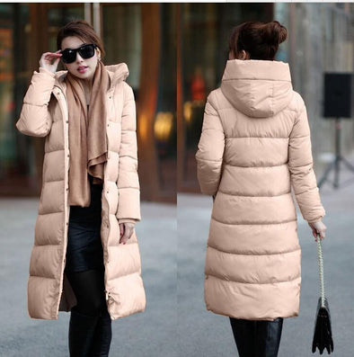 7-14 days To Moscow 2016 Winter Women's Cotton Slim Long Coat Hooded Parka Jackets Coats White Overcoat Plus Size Down Parkas - Dollar Bargains - 9