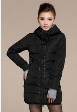 black winter jacket / LWomen's Hooded Cotton-Padded Jacket Winter Medium-Long Cotton Coat Plus Size Down Jacket Female Slim Ladies Jackets Coats Gift