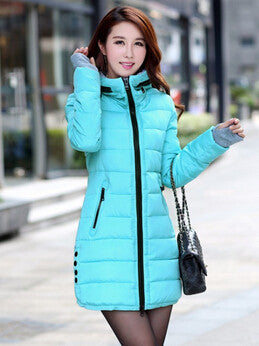 blue winter jacket / XLWomen's Hooded Cotton-Padded Jacket Winter Medium-Long Cotton Coat Plus Size Down Jacket Female Slim Ladies Jackets Coats Gift