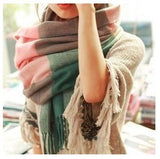 Fashion Wool Winter Scarf Women Spain Desigual Scarf Plaid Thick Brand Shawls and Scarves for Women - Dollar Bargains - 12