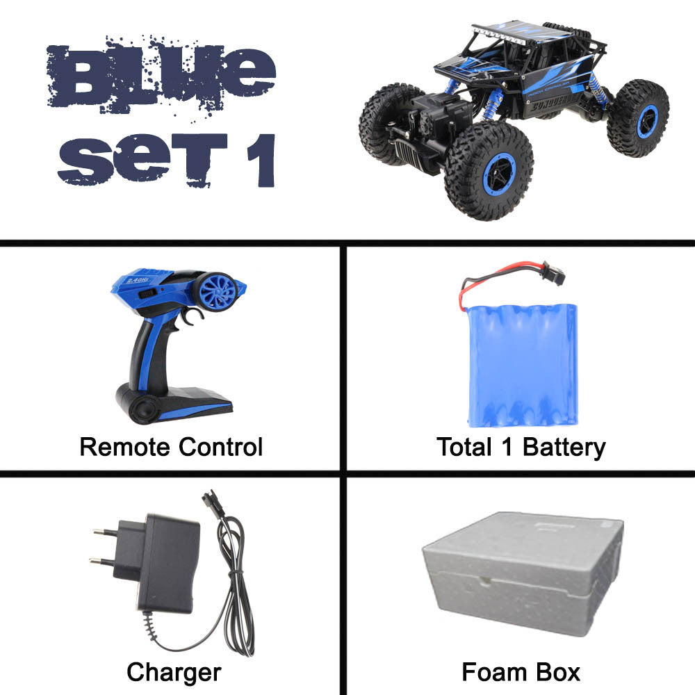 Blue Set 1 / ChinaLynrc RC Car 4WD 2.4GHz Rock Crawlers Rally climbing Car 4x4 Double Motors Bigfoot Car Remote Control Model Off-Road Vehicle Toy