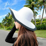 Summer Women's Foldable Wide Large Brim Beach Sun Hat Straw Beach Cap For Ladies Elegant Hats Girls Vacation Tour Hat-Dollar Bargains Online Shopping Australia